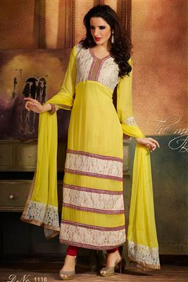 image of Beige Georgette Embroidered Salwar Kameez