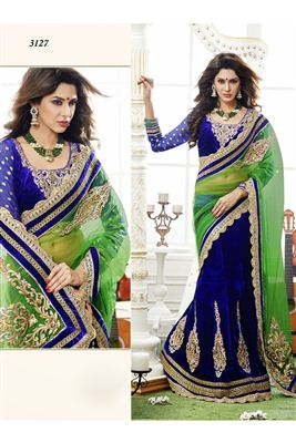 image of Designer Blue Color Lehenga Saree-3127