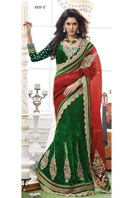 image of Green Wedding Wear Designer Lehenga Saree -3127C