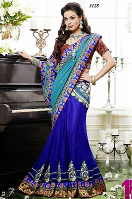 image of Wedding Wear Georgette-Net Lehenga Saree-3128