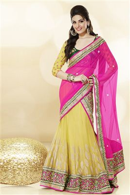 image of Designer Yellow Color Lehenga Saree-3308