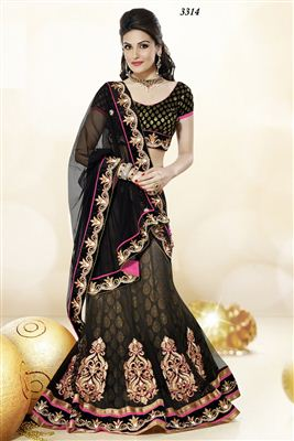 image of Black Wedding Wear Designer Lehenga Saree -3314