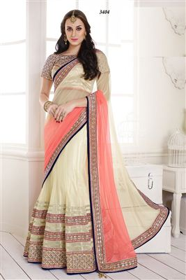 image of Wedding Wear Designer Net-Satin Lehenga Saree-3404