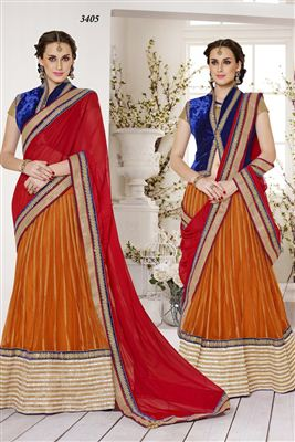 image of Designer Rust Color Lehenga Saree-3405
