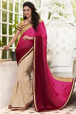 image of Beige-Pink Satin Saree with Velvet Blouse