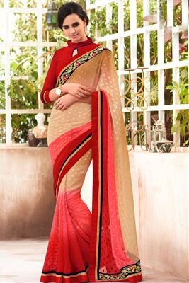 image of Red And Yellow Color Printed Georgette Saree