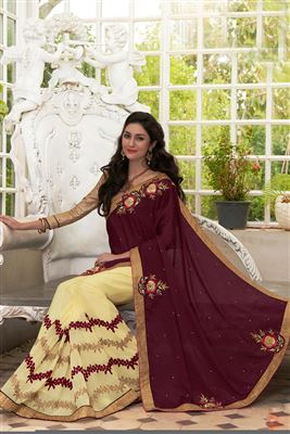 image of Designer Georgette Saree in Red Color with Bangalori Silk Blouse