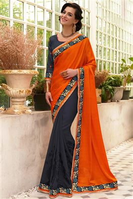 image of Blue Color Classic Georgette Saree