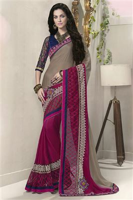 image of Pink Color Designer Georgette Saree with Embroidery