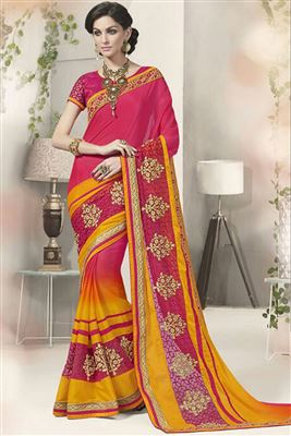 image of Embroidered Red Color Georgette Fabric Designer Saree