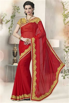 image of Likable Georgette-Jacquard Party Wear Saree