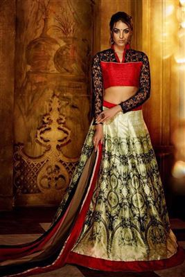 image of Fictitious Fancy Fabric Embroidered Lehenga Choli in Grey Color