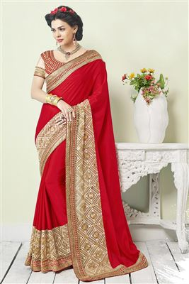 image of Wedding Wear Peach Color Embroidered Saree in Net-Velvet Fabric