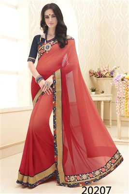 image of Glimmering Pink Color Embroidered Chiffon Saree