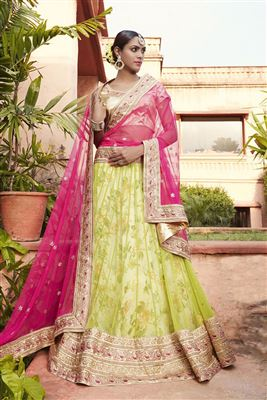 image of Intriguing Mustard Color Embroidered Net Lehenga