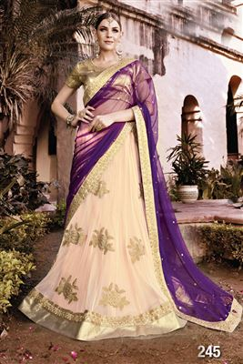image of Wedding Wear Embroidered Silk Lehenga Choli in Orange-Pink Color