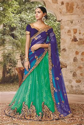 image of Blue Festive Wear Silk Lehenga Choli-2154