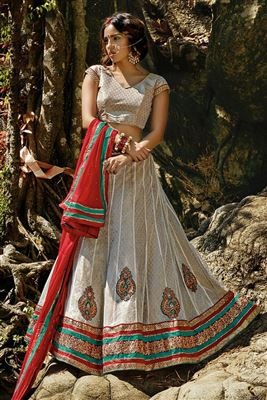 image of Red Color Designer Net Lehenga Choli with Embroidery