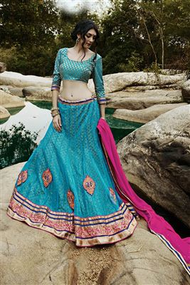 image of Blue Color Wedding Bridal Embroidered Lehenga Choli in Net Fabric