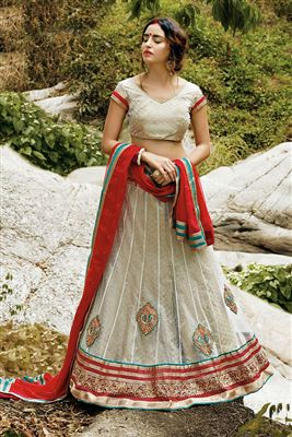 image of Red Color Net Enchanting Lehenga