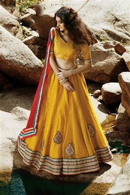 image of Festive Wear Orange Color Designer Lehenga Choli in Net Fabric