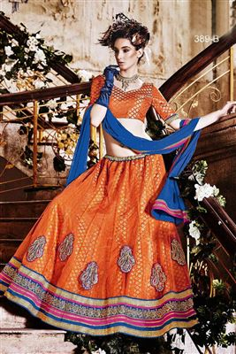 image of Fascinating Yellow Color Wedding Wear Designer Lehenga Choli