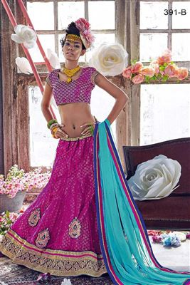 image of Net Fabric Embroidered Lehenga Choli in Green Color