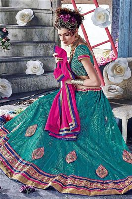 image of Net-Shimmer Party Wear Turquoise Color 3 Piece Bridal Lehenga Choli