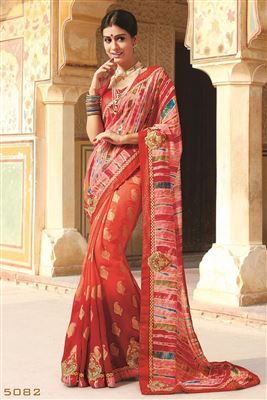 image of Designer Party Wear Shimmer And Georgette Saree-13