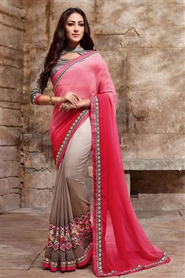 image of Peach-Orange Jacquard Saree with Embroidery