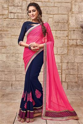 image of Beautiful Navy Blue Color Designer Chiffon Saree