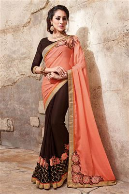 image of Red-Beige Bhagalpuri Silk Party Wear Saree-14484