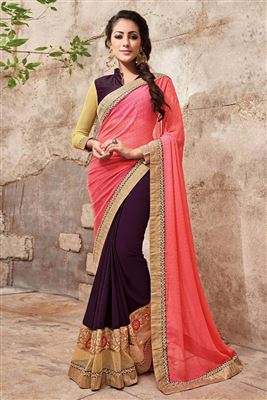 image of Designer Red-Beige Color Half-Half Georgette Saree
