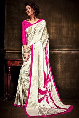 image of Riveting Maroon-Cream Chiffon-Viscose Saree-12846