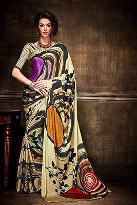 image of Riveting Yellow-Brown Color Designer Printed Saree