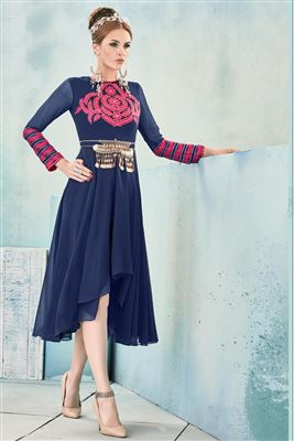 image of Black And Grey Color Designer Georgette Kurti