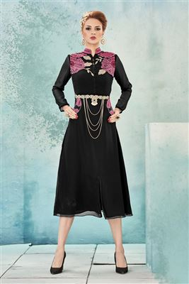 image of Pink Designer Party Wear Linen Kurti-7547