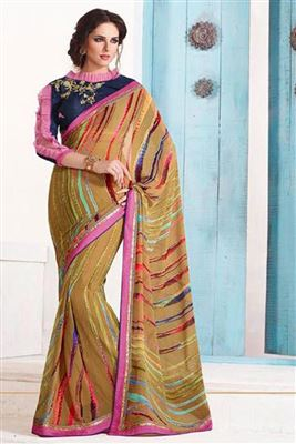 image of Classic Silk Party Wear Printed Saree