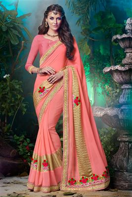 image of Off White Georgette Kashmiri Work Designer Saree