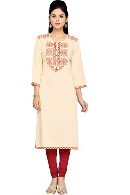 image of Peach Georgette Designer Kurti with Embroidery
