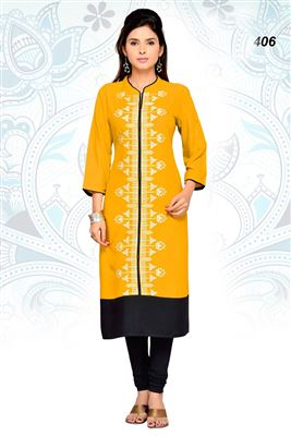 image of Designer Peach Color Cotton Kurti for Party