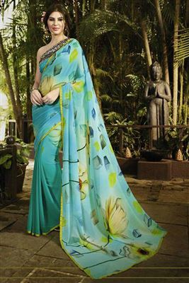 image of Cyan Color Party Wear Crepe-Chiffon Saree with Designer Blouse