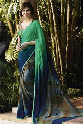 image of Designer Party Wear Aqua Color Saree in Georgette-Net Fabric