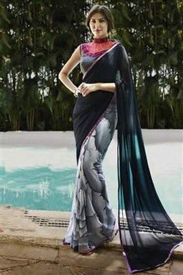 image of Alluring Off White And Black Color Designer Saree
