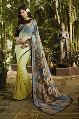 image of Green Color Fancy Print Georgette Saree with Georgette Blouse