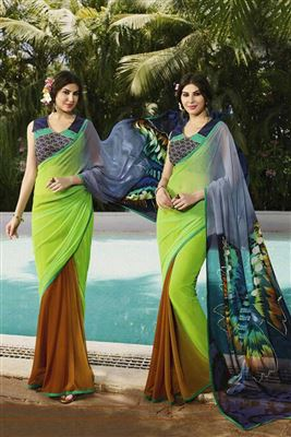 image of Cream-Blue Crepe Party Wear Printed Saree