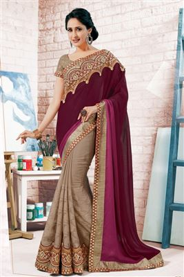 image of Red-Brown Color Embroidered Fancy Fabric Designer Saree