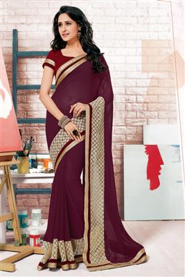 image of Designer Crepe-Net Party Saree in Pink Color with Border