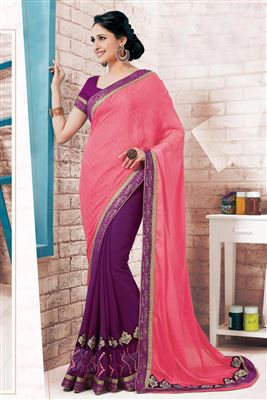 image of Purple-Pink Wedding Wear Designer Net-Brasso Saree