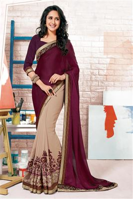 image of Maroon-Beige Viscose-Jacquard Festive Wear Saree